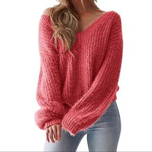 Sweaters - ONLY ONE LEFT! 😮 CORAL PINK Long Sleeve Sweater